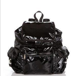 Lesportsac Shiny Black Voyager Backpack
